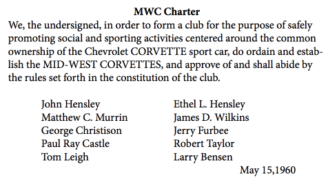 Mid-West Corvettes Charter